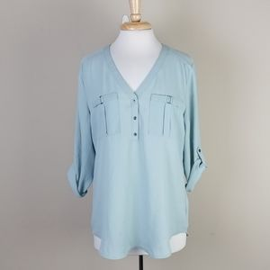 NWT Maurices sheer 3/4 button popover